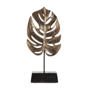 Antique gold monstera leaf on base
