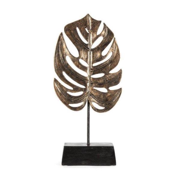 Antique gold monstera leaf on base
