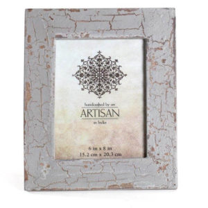Artisan mangowood cracked grey photo frame