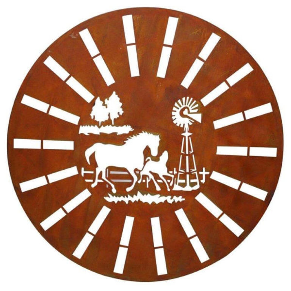 Lazer-cut rust circular horse wall hanging