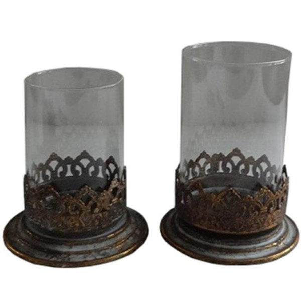 Set of 2 nested elemental series candle holders