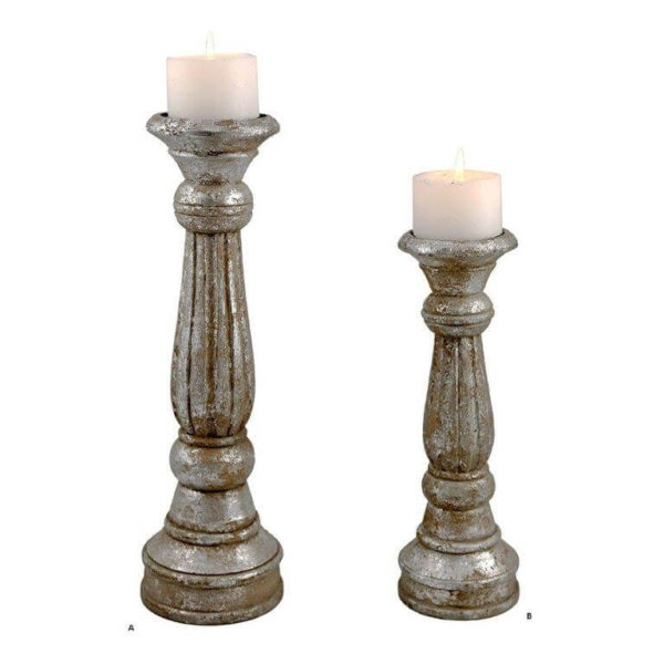 Antique silver hand carved pillar candles