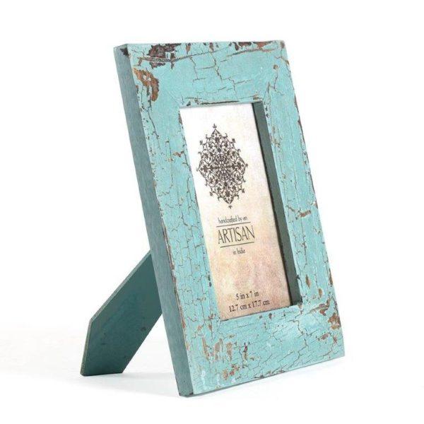 Artisan-mango wood cracked blue photo frame
