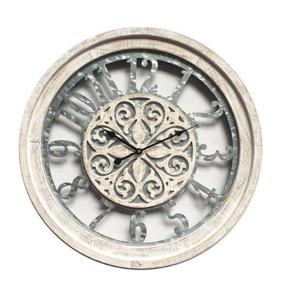 Industrio-carved wood with galvanised metal detail wall clock