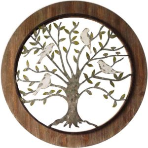 Galvanised tree of life framed wall hanging