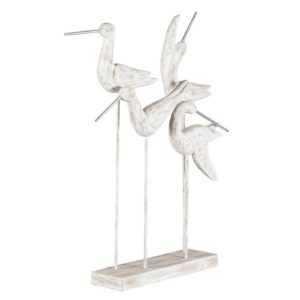 Hand-carved mango wood & metal tall posing birds