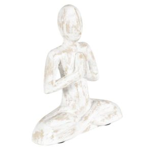 Hand-carved mango wood yoga prayer pose