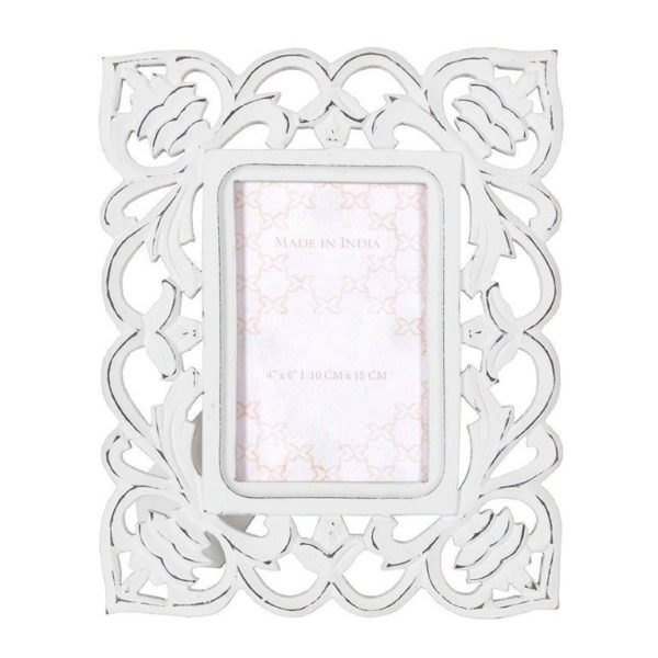 Handcrafted antique white bold scroll photo frame