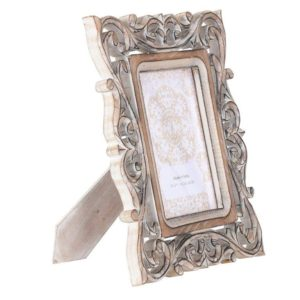 Handcrafted burnt white scroll heart photo frame