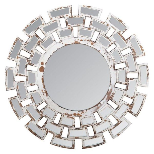 Handcrafted round antique white mosaic wall mirror