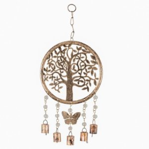 Handcrafted tree of life chime with butterfly beads & bells