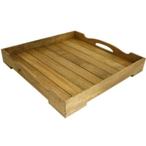 Mango wood square panelled tray with handles