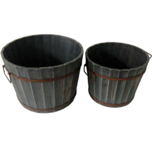Clearance sale set of 2 nested decorative wine barrels