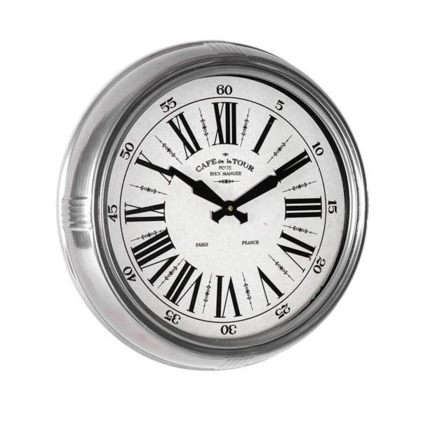 Silver framed,cafe de la tour, wall clock