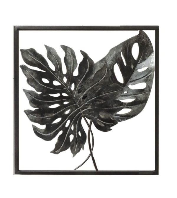black Monsterio double leaf wall art