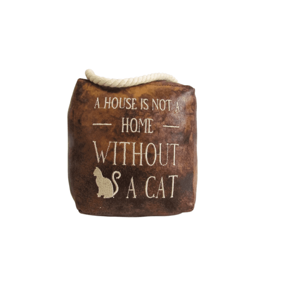 faux Leather Door Stop - A house is not a home without a cat