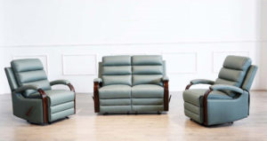 Albert 2 seater recliner sofa and 2 recliner chairs available in 3 colours Avocado, jet and Grey super suede